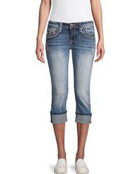 Vigoss Whiskered Capri Jeans - Blue
