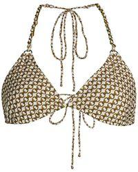 Jonathan Simkhai Chain Link Printed Triangle Bikini Top - White