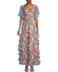 All Things Mochi Ruffled Botanical-print Cotton Dress - Pink