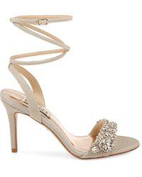 Badgley Mischka Jen Wrap Ankle-strap Sandals - Metallic