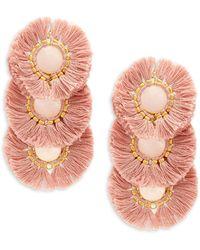 Panacea Fringe Drop Earrings - Multicolour