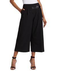 Alice + Olivia Adelina Wide-leg Pleated Tab Belt Crop Pants - Black