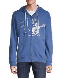 True Religion Men's Large Logo Zip-up Hoodie - Onyx - Size L - Blue