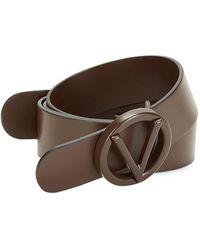 Valentino By Mario Valentino Circular Logo Buckle Leather Belt - Brown