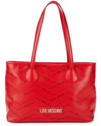 Love Moschino Logo-print Faux Leather Tote - Red