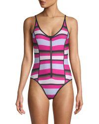 Proenza Schouler - One-piece Striped Swimsuit - Lyst