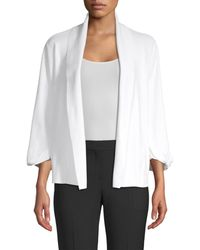 Donna Karan Women's Icon Open Front Cardigan - White - Size L