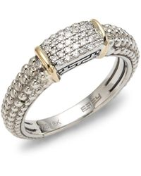 Effy 925 Sterling Silver, 18k Gold & Diamond Band Ring - Metallic