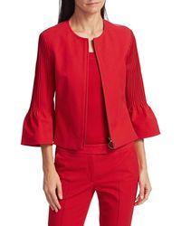 Akris Punto Women's Pintuck Bell-sleeve Cropped Jacket - Luminous Red - Size 16