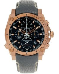 Bulova Men's Precisionist Stainless Steel & Leather-strap Chronograph Watch - Black