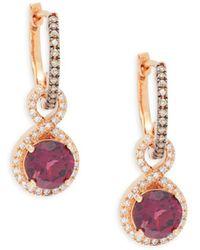 Effy Women's 14k Rose Gold, Diamond & Gemstone Drop Earrings - Multicolour