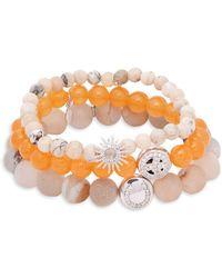 Anzie - Boheme Orange Jade, Opal, White Topaz & Sterling Silver Beaded Bracelet - Lyst