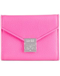 MCM Small Leather Tri-fold Wallet - Pink