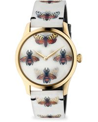 Gucci G-timeless Goldtone Pvd Case 38mm Bees And Butterfly Hologram Watch - Metallic