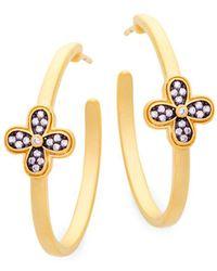 Freida Rothman - Clover Sterling Silver Hoop Earrings - Lyst