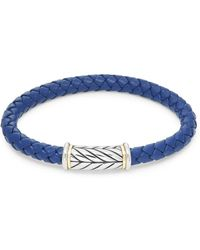 Saks Fifth Avenue - Stainless Steel, 14k Yellow Gold & Braided Leather Bracelet - Lyst