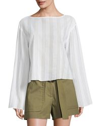 Becken Flare Bell-sleeve Striped Cotton Voile Top - White