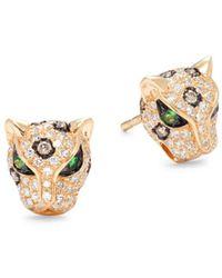 Effy 14k Yellow Gold & Two-tone Diamond Panther Stud Earrings - Metallic