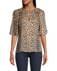 Rebecca Taylor Cheetah-printed Silk-blend Blouse - Multicolour