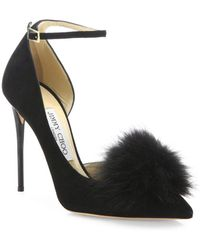 Jimmy Choo - Rosa Fox Fur Pom-pom & Suede D'orsay Ankle-strap Pumps - Lyst