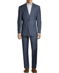 Saks Fifth Avenue Slim-fit Sharkskin Wool Suit - Blue