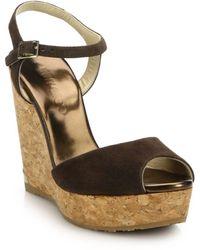 Jimmy Choo Perla Suede & Cork Platform Wedge Sandals - Multicolour