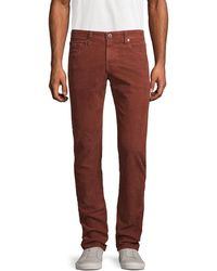 AG Jeans The Matchbox Slim Straight Corduroy Trousers - Red