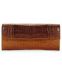 Nancy Gonzalez Small Flap Crocodile Leather Clutch - Brown