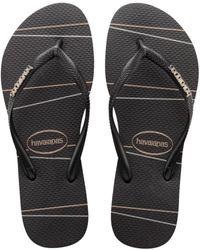 Havaianas Women's Slim Logo Metallic Flip Flops - Black Silver - Size 35/36 (5/6)