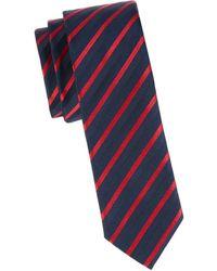BOSS by Hugo Boss Men's Striped Silk-blend Tie - Red