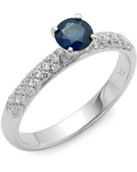 Roberto Coin - Diamond, Blue Sapphire, And 18k White Gold Solitaire Ring - Lyst