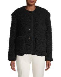 Mansur Gavriel Women's Cashmere & Silk Teddy Jacket - Black - Size 40 (4)