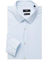 BOSS by HUGO BOSS Isko Slim-fit Striped Stretch Dress Shirt - Blue