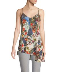 Nicole Miller Floral Asymmetrical Camisole - White