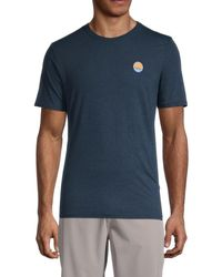 Threads For Thought Circle Wave Embroidered Cotton-blend T-shirt - Blue