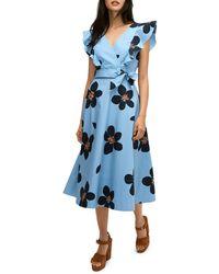 Kate Spade Grand Floral Midi Wrap Dress - Blue