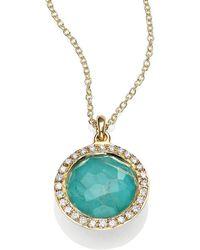 Ippolita - Lollipop Turquoise, Rutilated Quartz, Diamond & 18k Yellow Gold Mini Pendant Necklace - Lyst