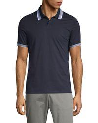 Perry Ellis Short-sleeve Cotton-blend Polo - Blue