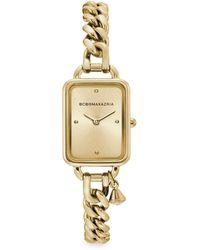 BCBGMAXAZRIA Classic Rectangular Goldtone Stainless Steel Charm Bracelet Watch - Metallic