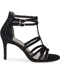 Adrianna Papell Ari Floral Lace Sandals - Black