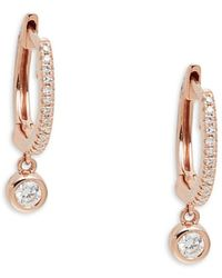 Saks Fifth Avenue Women's 14k Rose Gold Diamond Huggie Earrings - Metallic