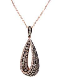 Effy Espresso 14kt. Rose Gold Brown And White Diamond Pendant Necklace - Multicolour