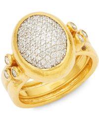 Gurhan - 24 Yellow Gold Pavé Diamond Amulet Ring - Lyst