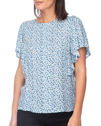 B Collection By Bobeau Acacia Flutter Sleeve Top - Blue