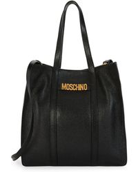 Moschino - Logo Plaque Leather Tote - Lyst