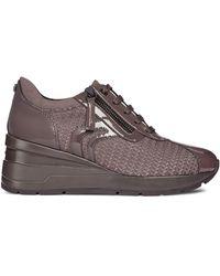 Geox Zosma Textured Wedge Sneakers - Brown