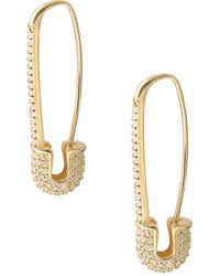 Gabi Rielle 22k Yellow Goldplated Pavé Safety Pin Earrings - Metallic