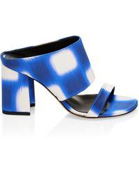 Dries Van Noten Stephen Stripe Block-heel Sandals - Blue