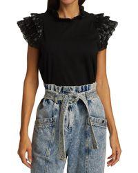 Sea Sequin Flutter T-shirt - Black