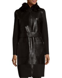 Zac Zac Posen - Beverly Dyed Shearling Collar Coat - Lyst